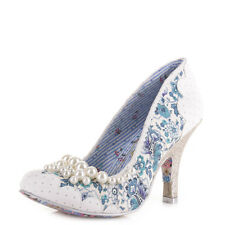 Womens Irregular Choice Pearly Girly White Silver Wedding Court Shoes Size