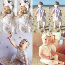 Cotton Romper Jumpsuit Outfit With Headband Bodysuit Newborn Baby Kid Infant New