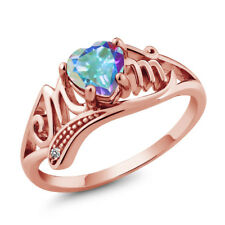 0.96 Ct Heart Shape Mercury Mist Mystic Topaz White Diamond 18K Rose Gold Ring