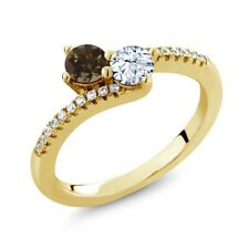 0.83 Ct Brown Smoky Quartz White Topaz 18K Yellow Gold Plated Silver Ring