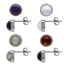 6MM Petite Natural Gemstone White Gold Plated 925 Sterling Silver Stud Earrings
