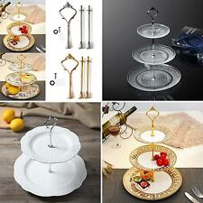2/3 Tier Cake Plate Stand Crown Handle Fitting Rod Party Display Stand Striking
