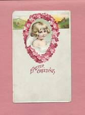 Lovely Young ANGEL On Beautiful Vintage German-Made EASTER Postcard