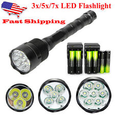 3/5/7x CREE XM-L T6 LED Flashlight Tactical Torch Lamp&6*18650&2*Charger USA
