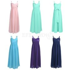 Pleated Chiffon Flower Girl Dress Wedding Bridesmaid Bow Back Party Formal Dress