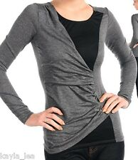 Gray/Black 2-Tone Wrap Style Ruched Side Long Sleeve Top S