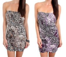 Cantata Juniors Dress Strapless Animal Print Ruched Mini Bandage Club New