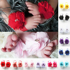 2Pc Baby Girl Toddler Infant Foot Flower Barefoot Sandals Shoes Toe Headband