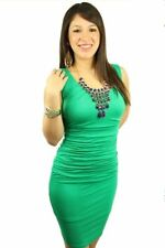 121AVENUE Classy Elegant Ruched Dress M Medium Women Green Career