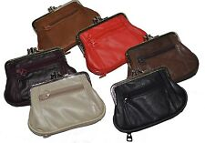 """WOMEN'S COIN PURSE SIZE DOUBLE FRAME WITH 2 ZIPPER CHANGE PURSE 5"""" x 3 3/16"""""""