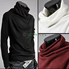 New Fashion Men Solid Slim Fit Long Sleeve Sweater Casual High-necked sweatshirt