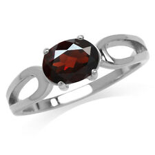1.4ct Natural Oval Shape Garnet 925 Sterling Silver Solitaire Ring