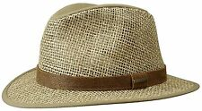 STETSON STRAW HAT HAT HATS MEDFIELD 100 % SEAGRASS COTTON 7 NATURAL NEW TREND