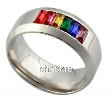 Silver Multicolor Rainbow Ring Stainless Steel Gay Pride Size 7 8 9 10 11 12