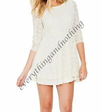 Love Label Asos Long Sleeve Lace CREAM / IVORY Mini  Dress SKATER DRESS UK 8