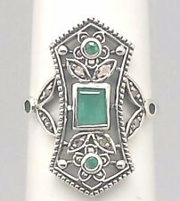 Ring Emerald Diamond Emeralds Diamonds Silver 925 Sterling Silver ANTIQUE STYLE