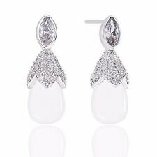18k Gold Plated White Simulated Pearl with Cubic Zirconia Accented Drop Earrings