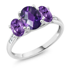 10K White Gold 1.70 Ct Oval Checkerboard Purple Amethyst 3-Stone Ring