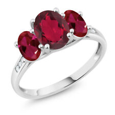 10K White Gold 2.30 Ct Oval Red Mystic Topaz Red Created Ruby 3-Stone Ring