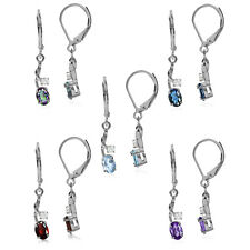 Genuine Gemstone 925 Sterling Silver Leverback Dangle Earrings