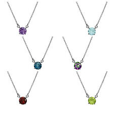 Gemstone White Gold Plated 925 Sterling Silver Pendant w/16-18 Inch Adj Chain