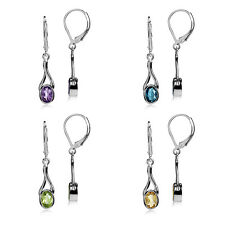 Genuine Gemstone White Gold Plated 925 Sterling Silver Leverback Dangle Earrings