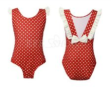 Girls Kid Polka Dot Bikini Swimwear Leotard Tankini Swimsuit Swim Beach Costume