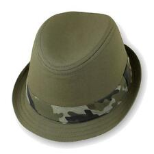 Infant Kids Children Camo Fedora Trilby Fashion Hat Cap Olive