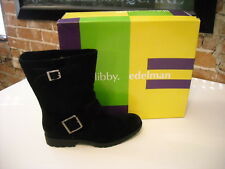Libby Edelman Marrie Black Suede Moto Mid Calf  Boots NEW