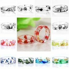Fashion Handmade Resin Inside Tree Bird Ink Painting Scenery Ring Jewelry Gifts
