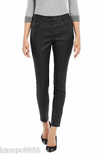 M&S Black Leather Look Ankle Grazer Jeggings Trousers  Sz UK 8 10  14