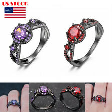 Charming Stone Women Fashion Jewelry Zircon Amethyst Cut Out Rings Wedding Party