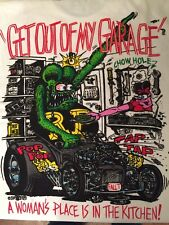 "Ed Roth ""Rat Fink"" Get Out of My Garage T Shirt White Tee 100% Authentic"