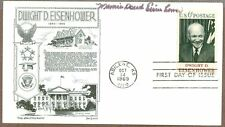 Mamie Doud Eisenhower, US First Lady, Signed First Day Cover, 1969, COA