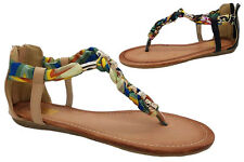 Ladies Shoe No Shoes Posty Zip Up Beaded Thong Sandals Size 6-11 Black Beige New