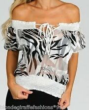 Black/White Zebra 'Burnout' Sheer/Semi Off Shoulder Short Sleeve