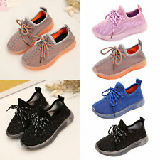 New Kids Boys Girls Toddler Trainers Lace Up Flat Shoes Breathable Sport Sneaker