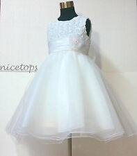 Free Shipping White Communion Wedding Party Flowers Girls Dresses AGE SIZE 1-12Y