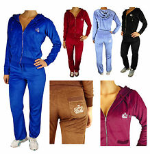 Ladies Velour Tracksuit Womens Sexy Full Jogging Hoody Suit With Diamante Crown
