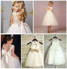 White/Ivory Lace Princess Communion Party Bridesmaid Wedding Flower Girl Dress