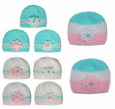 Hand Knitted Cute Mint Pink Stripe Baby Flower Beanie Hat - Premature to 0-3 mth
