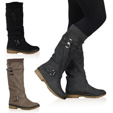 VH9 WOMENS CALF LENGTH HIGH LADIES LINED GRIP SOLE WINTER BOOTS SHOES SIZE 3-8