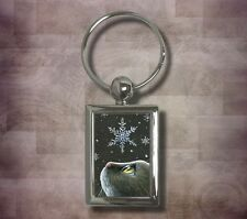 Key chain Keychain Round Rectangle Cat 532 snowflakes art painting L.Dumas