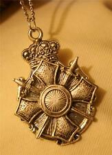 Lovely Scroll Edge Crown Maltese Cross With Swords Silvertone Pendant Necklace