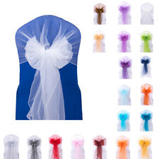 50x Wider Wedding Party Chair Organza Sash Cover Banquet Sashes Fuller Decor Bow