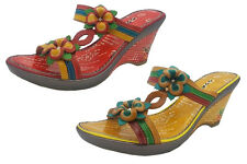 Ladies Shoes MG Patsy Leather Wedges Flower Detail Red or Yellow Multi 6-10 New