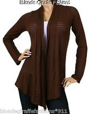 Brown Textured Long Sleeve Shrug/Cover-Up Drape Scarf Tunic Cardigan  #BB-BTX