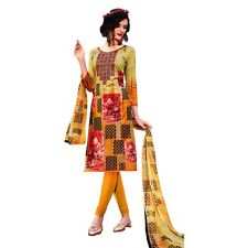 Readymade Cotton Printed Sober Embroidery Salwar Kameez Suit India-Belliza-44009
