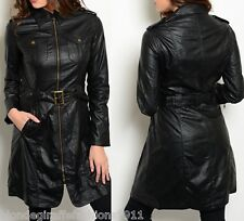 Black Pleather Vegan Leather Lined Trench Jacket/Coat S M L