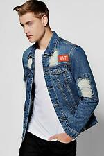 Boohoo Mens Distressed Denim Jacket With Back Print